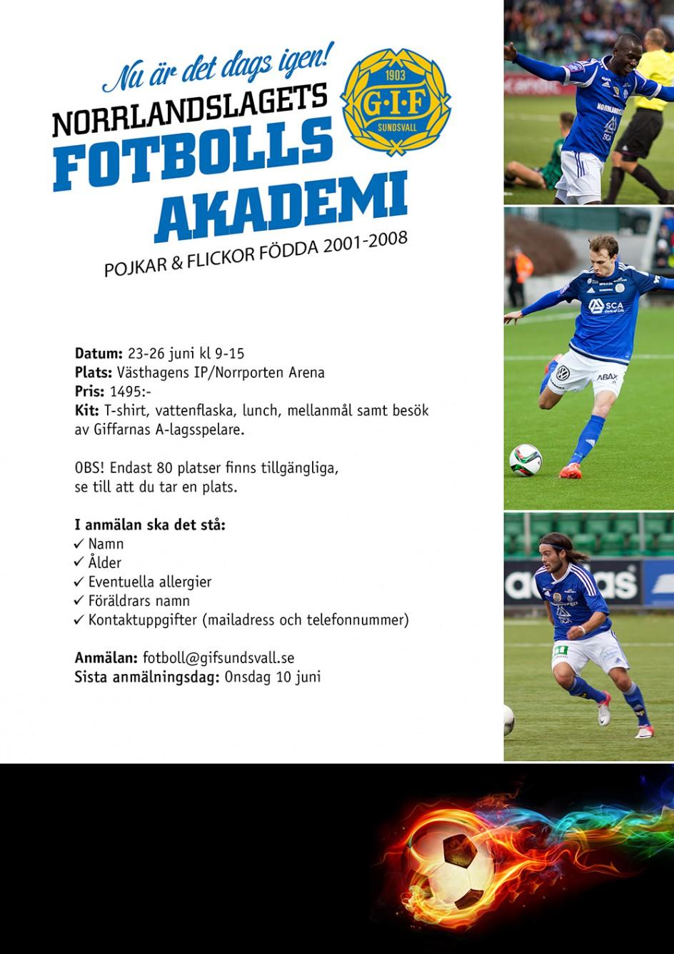 Dags att anmäla sig till GIF Sundsvall fotbolls akademin!