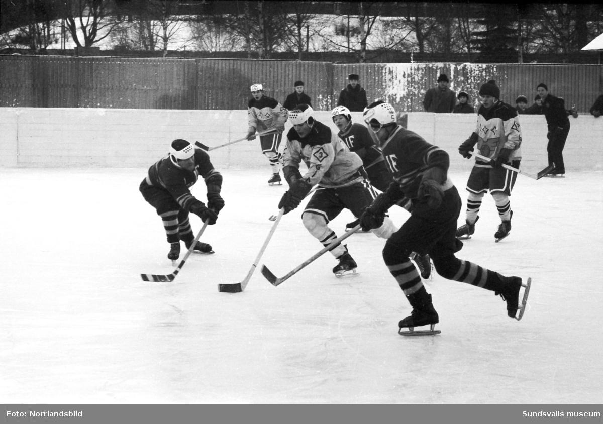 Division 2-premiär för GIF:s ishockeylag mot Ljunga på Stenkrossplan 1962.