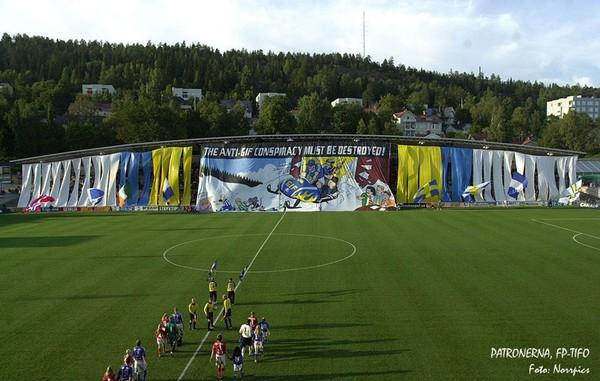 Patronernas tifo och enorma målning över hela den norra läktaren i Idrottsparken: The anti-GIF conspiracy must be destroyed.