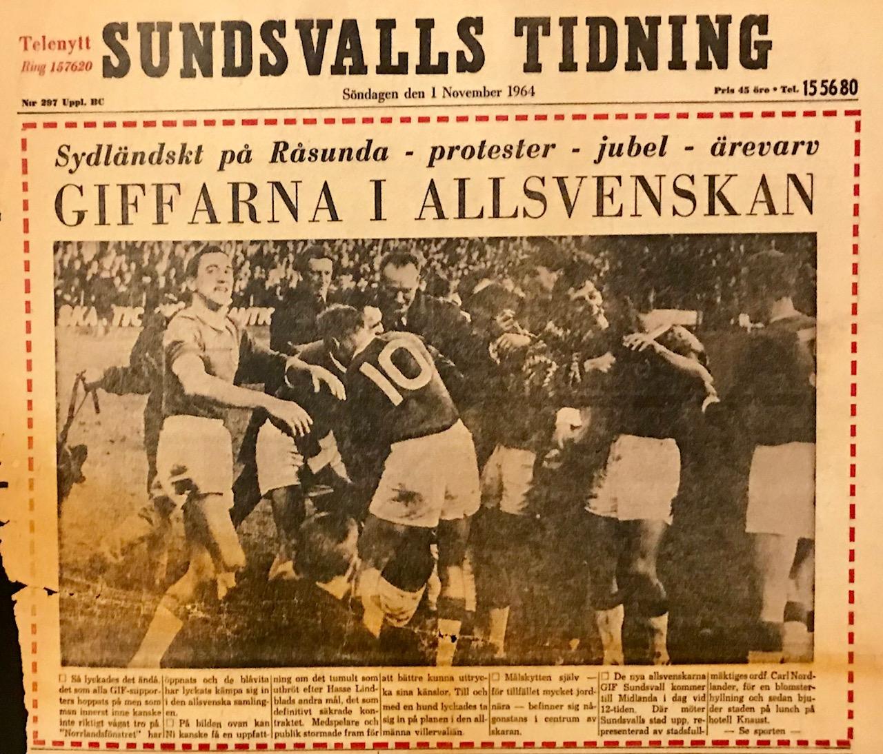 Förstasidan i ST efter GIF:s allsvenska avancemang 1964.