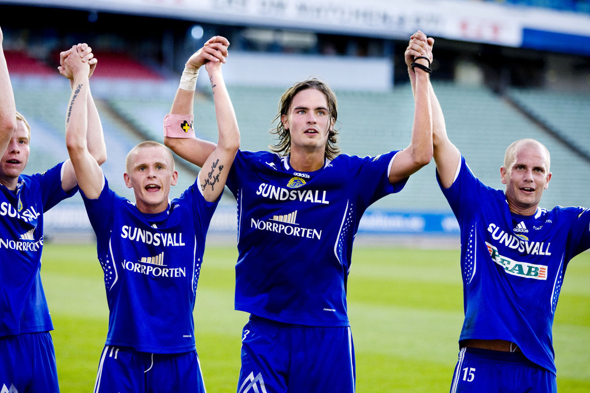GIF Sundsvalls Ari Skúlason, Mikael Lustig och Johan Patriksson 2008.