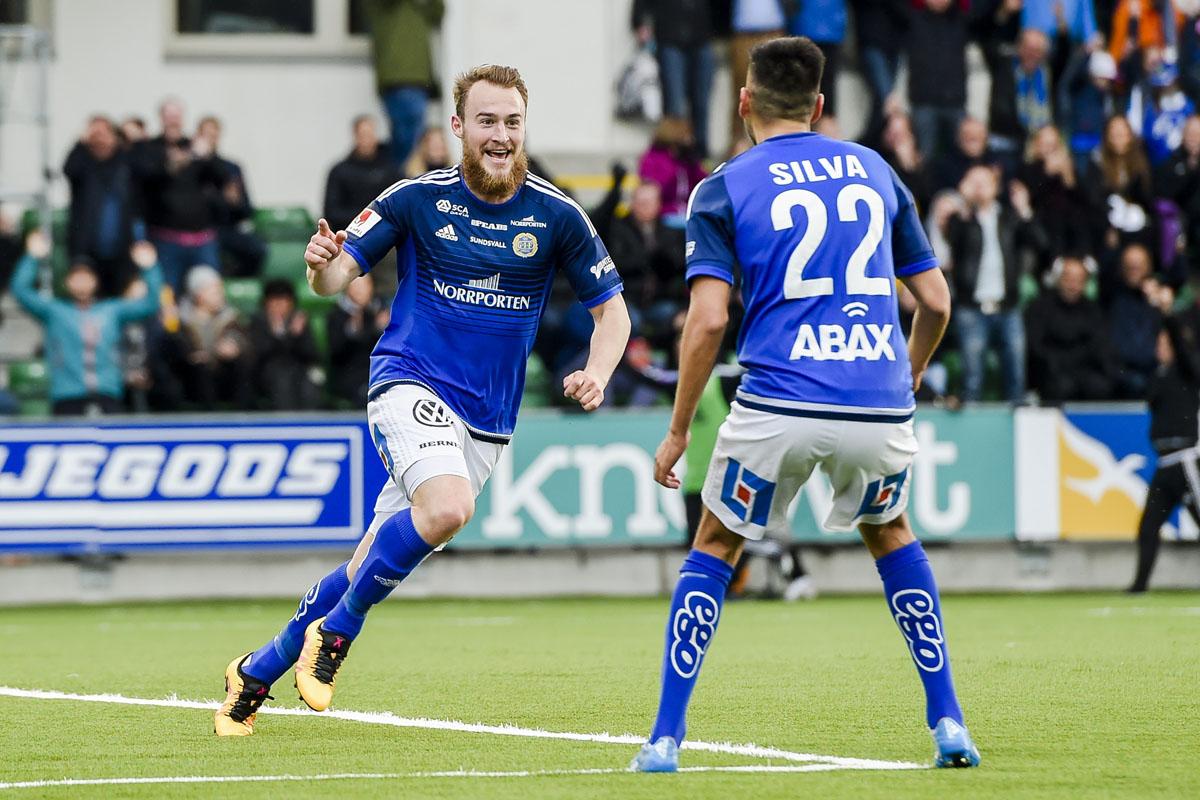 GIF Sundsvalls Runar Sigurjonsson efter mål mot Östersund i Allsvenskan 2016