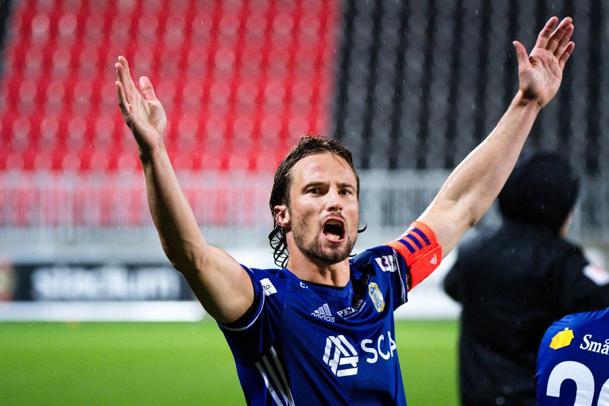 GIF Sundsvalls Linus Hallenius jublar efter seger mot BP i Allsvenskan 2018