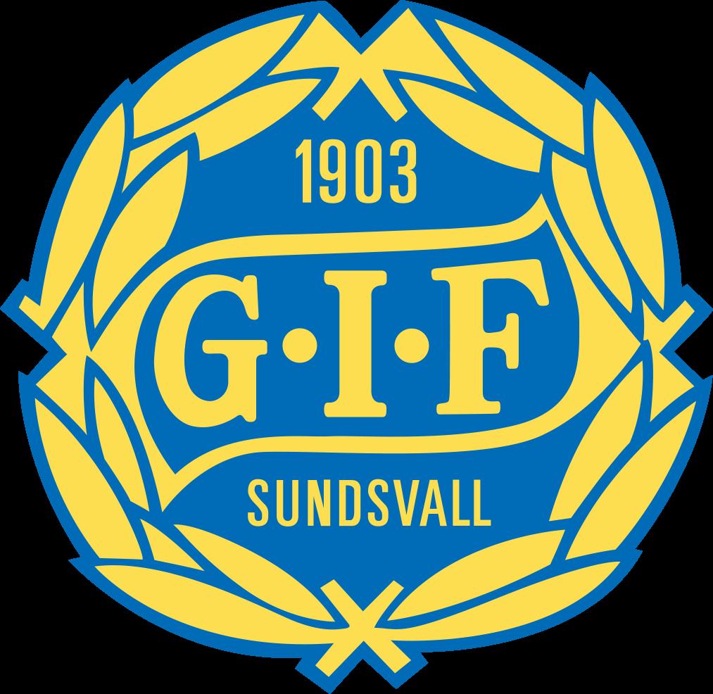 GIF Sundsvalls klubbmärke - en gul krans med texten GIF på en blå platta i mitten och årtalet 1903 ovanför och SUNDSVALL under.