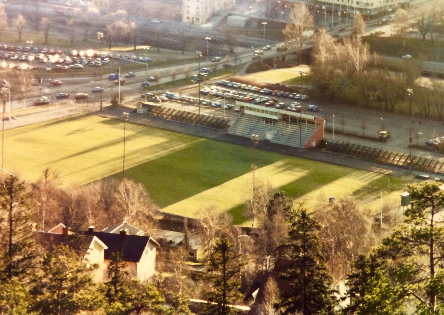 Vy över Idrottsparken på 1980-talet